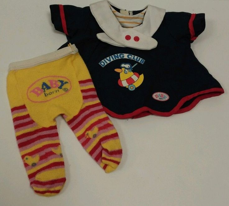 Zapf Creation Baby Born Doll Dress and Tights. Adorable Baby Born Doll navy dress with matching red, yellow and pink striped tights. Great for any little girl to play and have fun!   eBay!