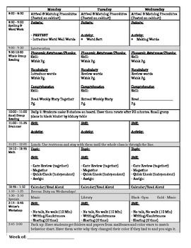First Grade Lesson Plan Master (Editable)