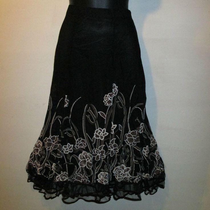 Skirt Large Black Brown Floral Hem A Line FLutter Lace Hem Lined Stretch NWT 63…