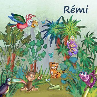 tableau personnalisable pour enfant les animaux de la jungle - Chambre Jungle Fly