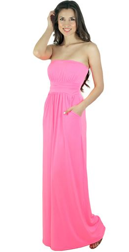 NEON PINK RULES THIS SUMMER! This Strapless Neon Pink Maxi Dress With Pockets is available at www.savedbythedress.com