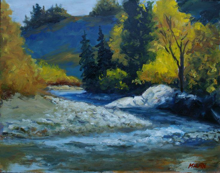 Crowsnest River at Burmis.  Visit Milansart.com