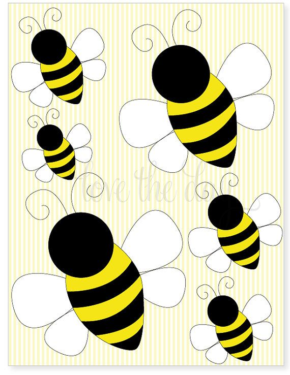 Printable party decals bumble bee birthday party by for Bumble bee mural