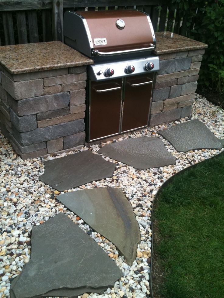 custom built grill with beautiful countertops - Patio Grill Ideas