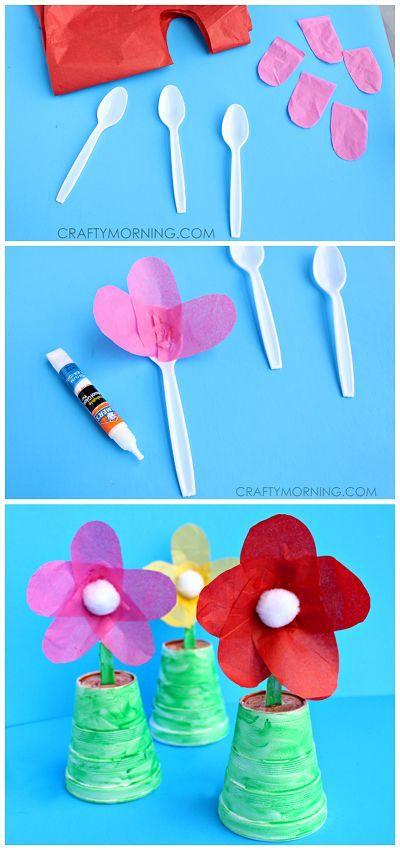 Kidissimo: Très facile : fabriquer une fleur avec un gobelet en plastique et une cuillère en plastique, chez Crafty Morning.