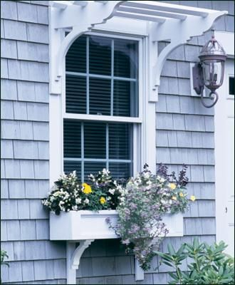 Office/master bed side of house: Window box and pergola