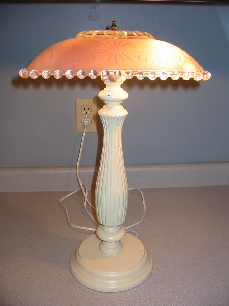 Vintage Pink Glass Ceiling Shade Repurposed Table