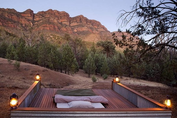 """SOUTH AUSTRALIA. Go for: A walking safari in the Flinders Ranges. Stay for: """"Table surfing"""" on Kangaroo Island in late April. Pictured above: Swag with a view at Arkaba Station in the Flinders."""