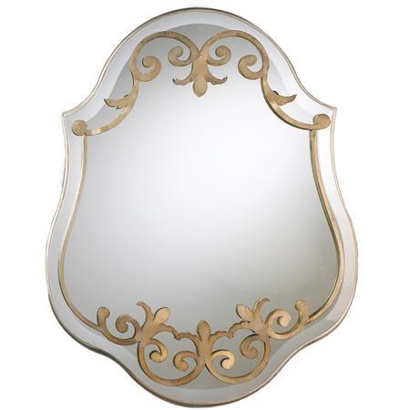 Silver Cutout Damask Shield Mirror