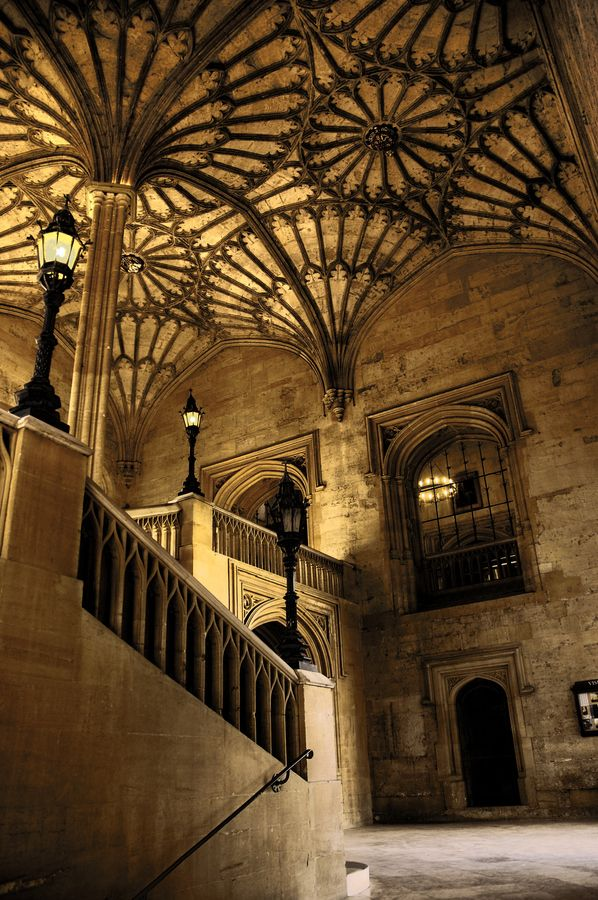 Stunning Staircase to the Great Hall, Christ Church, Oxford.  Also used in the Harry Potter films.