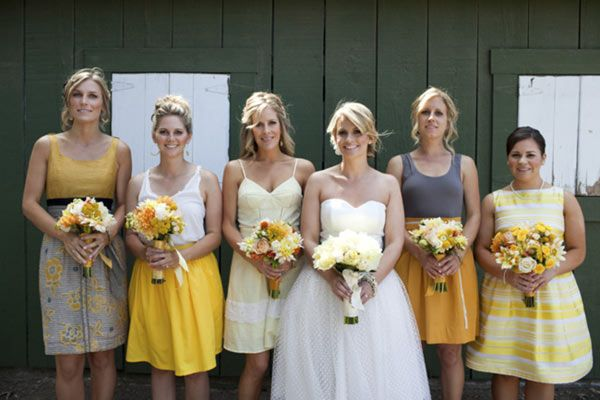 Wedding colors. Gray and yellow with mismatched bridesmaid dresses. Love.