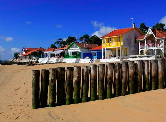 Typical landscape of the Arcachon Bay in France. This area is one of the best place for holidays in France.
