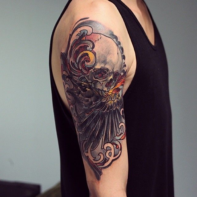 Custom work, 5h!:) #tattooartist #tattoo #tattoowork #artwork #art #barocco #ornaments #artnouveau #artnuvoe #skullart #skull #skulltattoo #sleevtattoos #raven #crow #wing #inked #pain #neotraditional #neotrad #fun