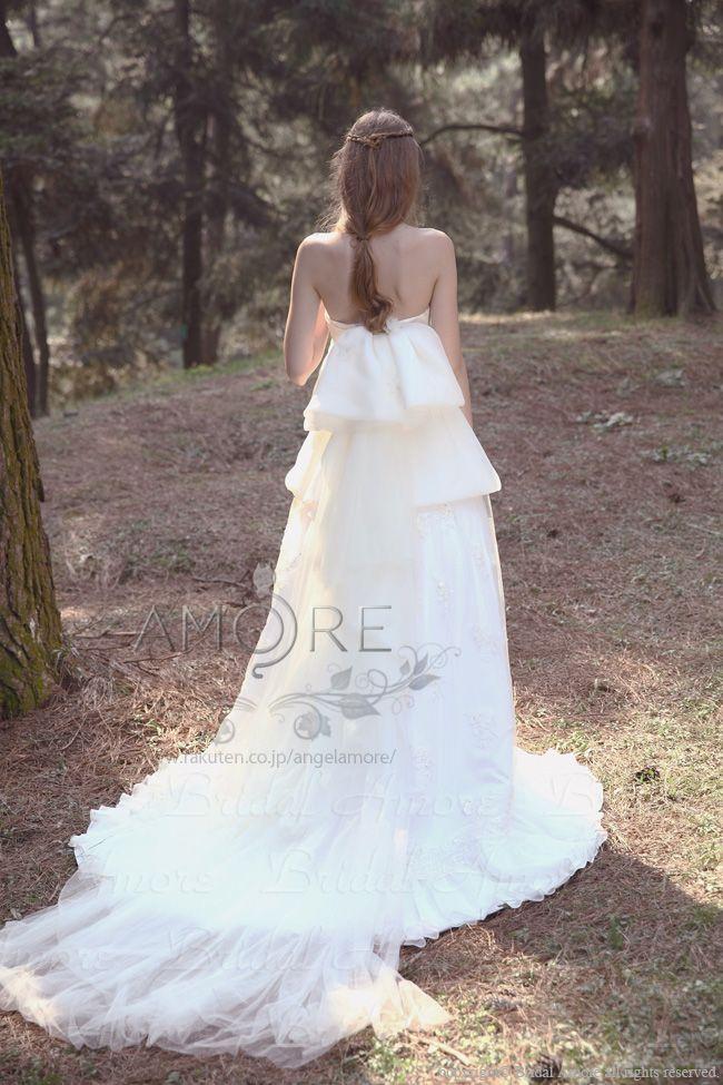 【楽天市場】ウェディングドレス_ウエディングドレス_Aライン_エンパイア(w2029)二次会ドレス:ブライダルアモーレ
