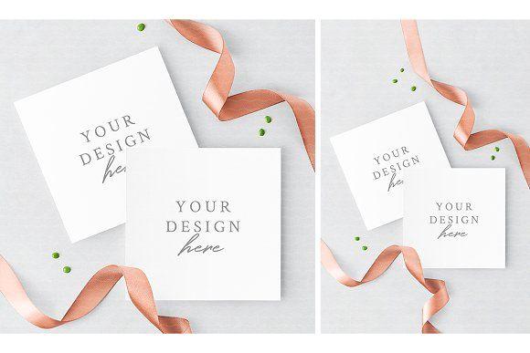 Square Invitation Card Mockup Stationery Mockup Business Card Mock Up Mockup Design
