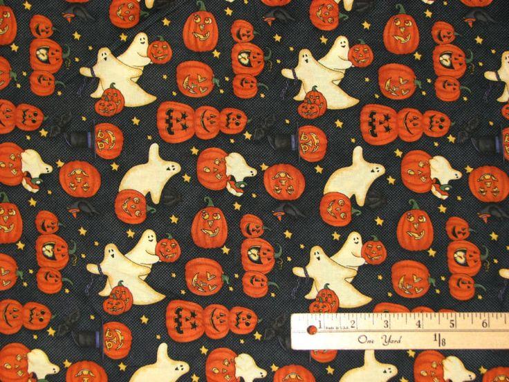 Debbie Mumm Jack O Latern Ghost Halloween Fabric BY THE 1 2 Yard Bthy | eBay