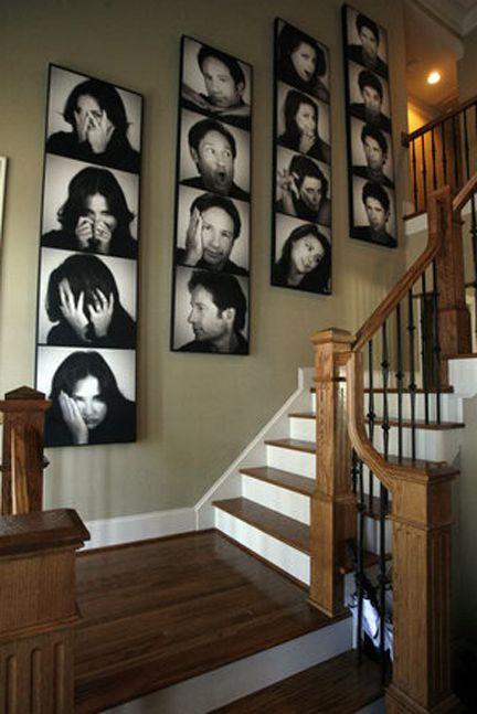 Fotos de caretas e usado como arte na parede.