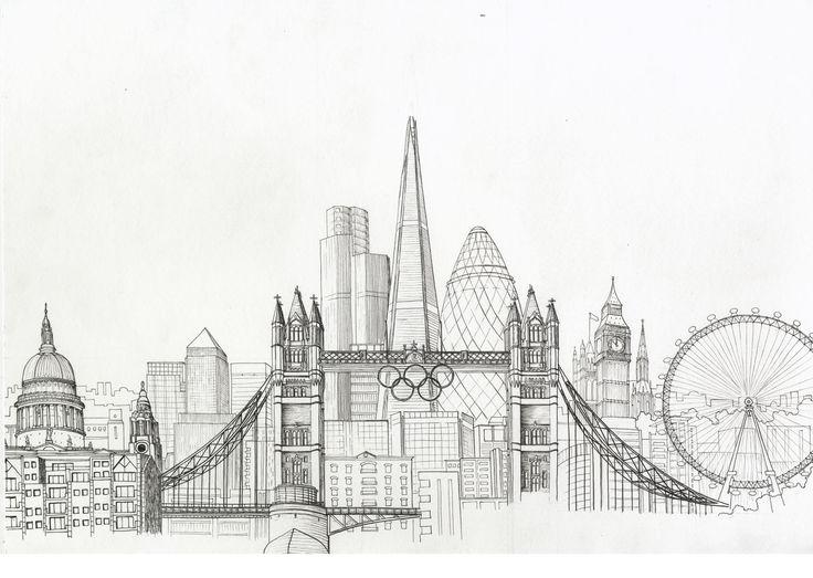 new york city skyline drawing   Sketches   Pinterest