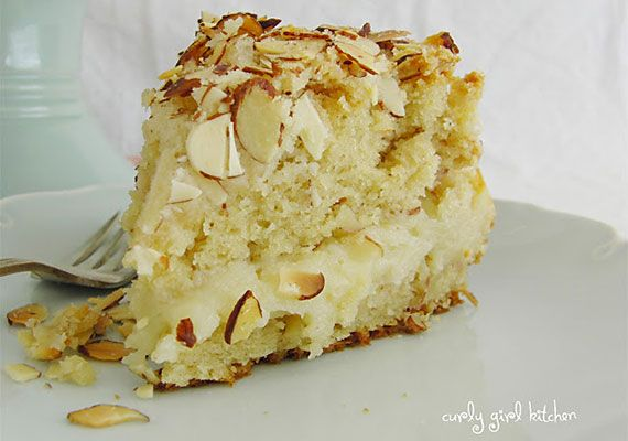 I am obsessed with this Almond Coffee Cake. The almond filling is incredible but it's just one part of this sweet, salty, creamy, crunchy almond cake treat.