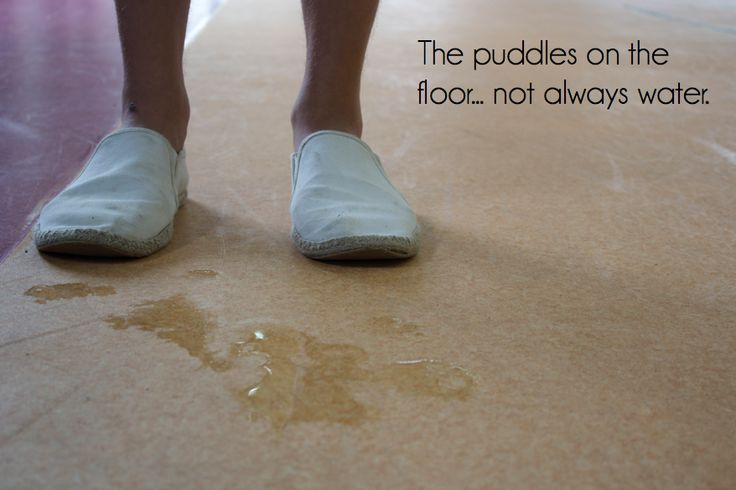 Watch out for the puddles on the floor, it's not always water that you could be stepping in.