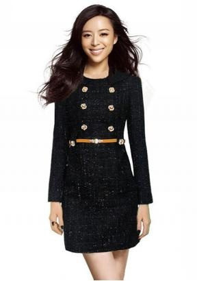 Spring Fashions Golden Flower Buttons Tweed Dress