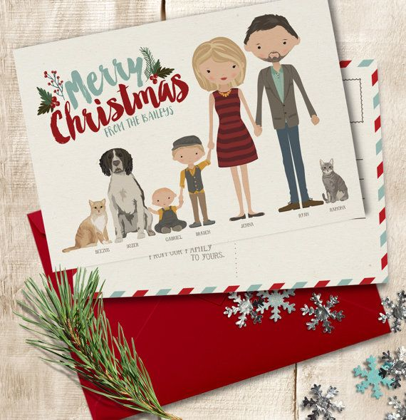 Christmas Card Add-on • Personalized Holiday Card • Custom Illustrated Family Portrait • Christmas Hanukkah Holiday • Colored Envelopes