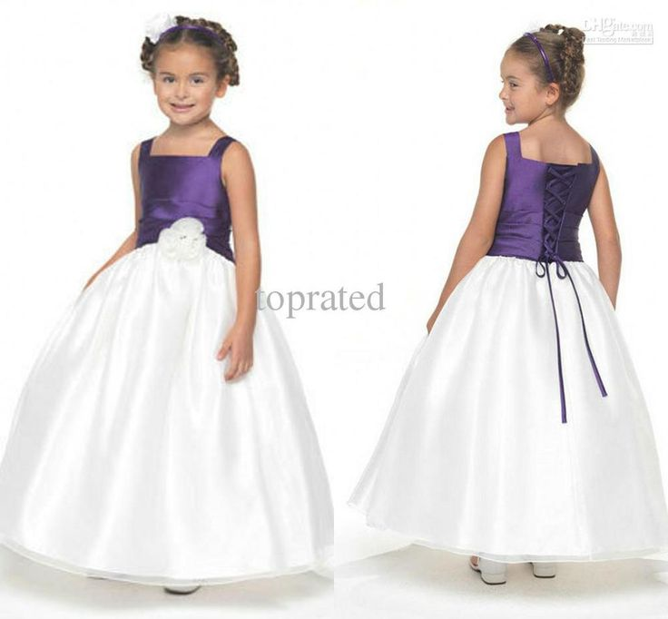 purple and white flower girl dresses - Google Search
