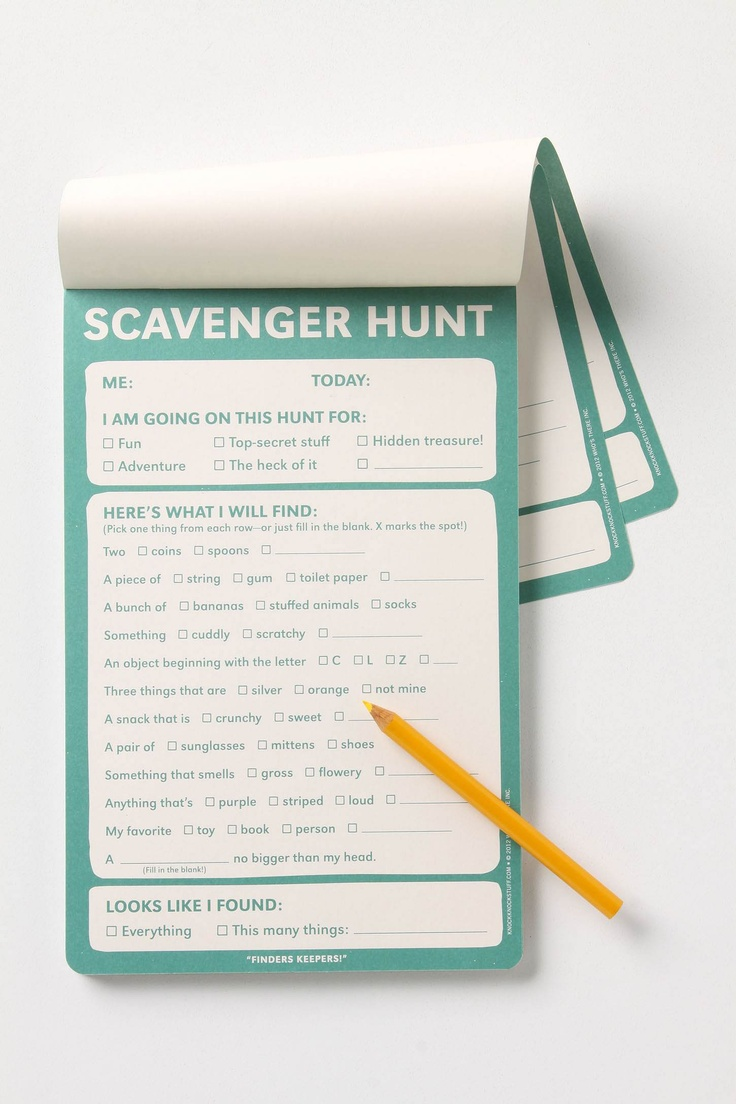 scavenger hunt notepad