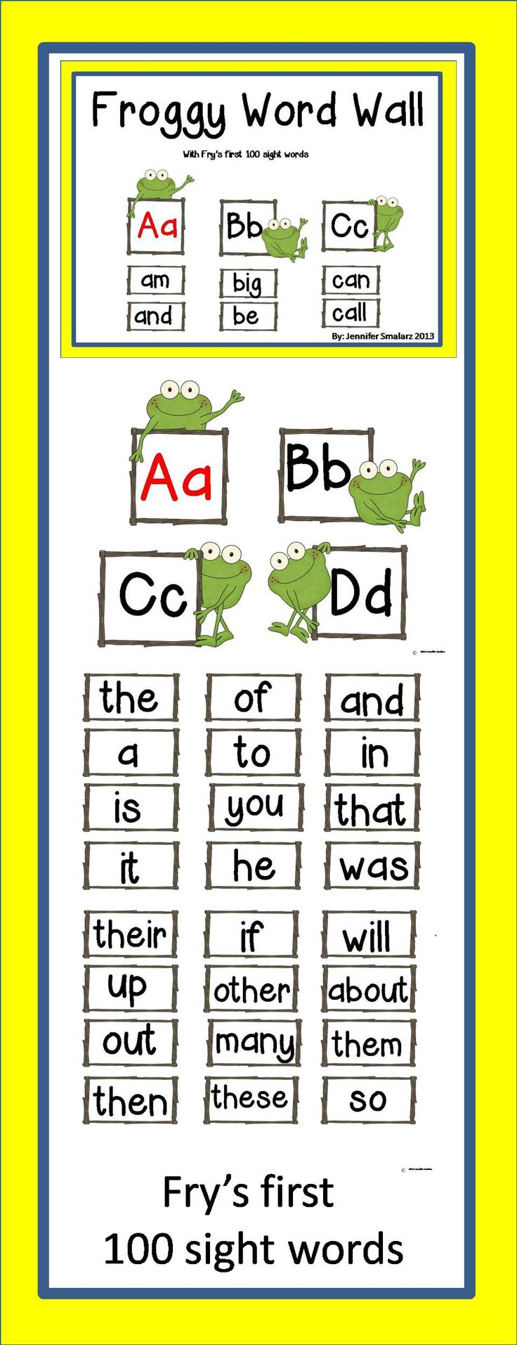 Worksheet 1st 100 Sight Words 78 best images about sight words on pinterest fry word wall with froggy includes alphabet frys first 100 blank cards to add your own words