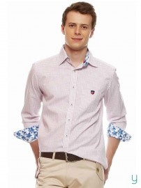 #American Swan #Men Pablos #Coffee #Check #Pink #Shirt @Yuvastyle India