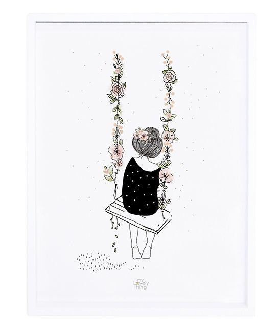 Affiche et cadre balançoire fleurs – décoration Lilipinso