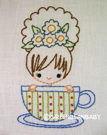 Teacup Tea Party  Cutesie Girls Digital Embroidery Patterns. $3.50, via Etsy.