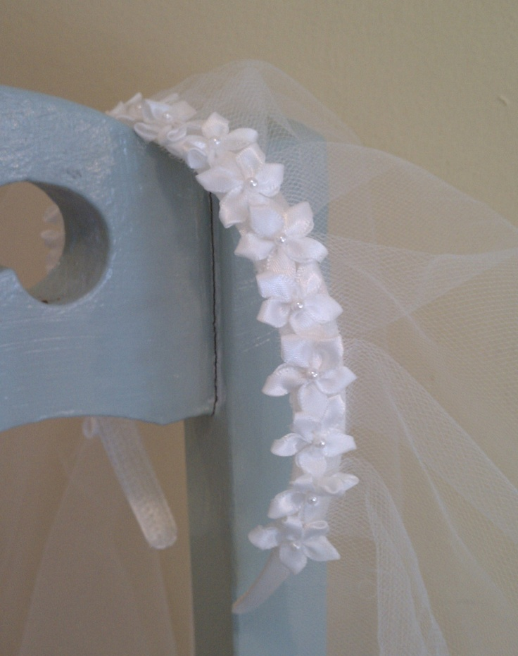 SHIRO First Communion Veil With Headband. $32,00, via Etsy.