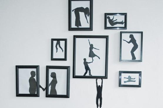 Pared con Paper art silhouette