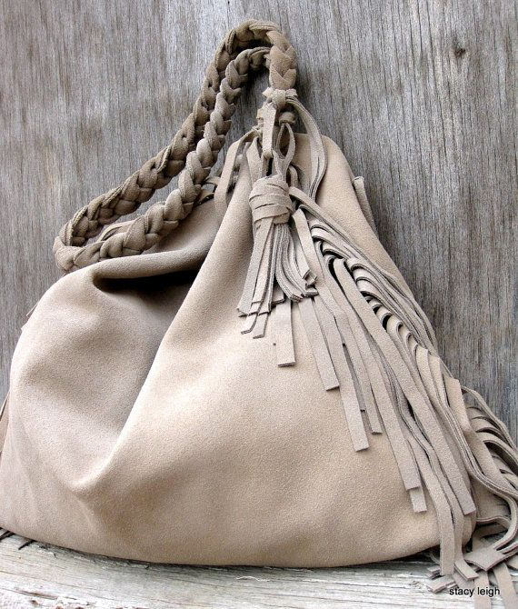 Slouchy Leather Fringe Bag In Taupe Stone Gray Suede By Stacy Leigh Bags Clutches Totes Pinterest And