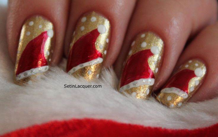 Santa's Hat Nail Art using Zoya Nail Polish in Ziv, Elisa, Purity and Trixie!