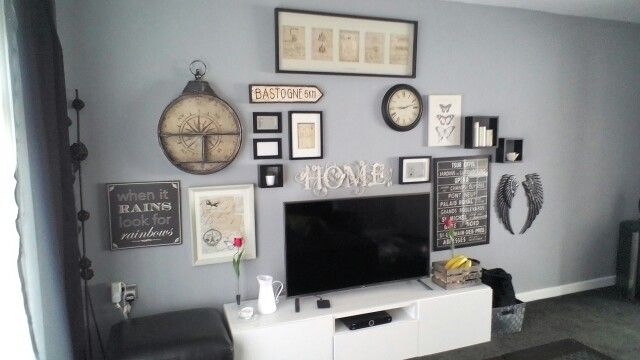 Gallery Wall over TV. Warm Pewter by Dulux. Incomplete Gallery