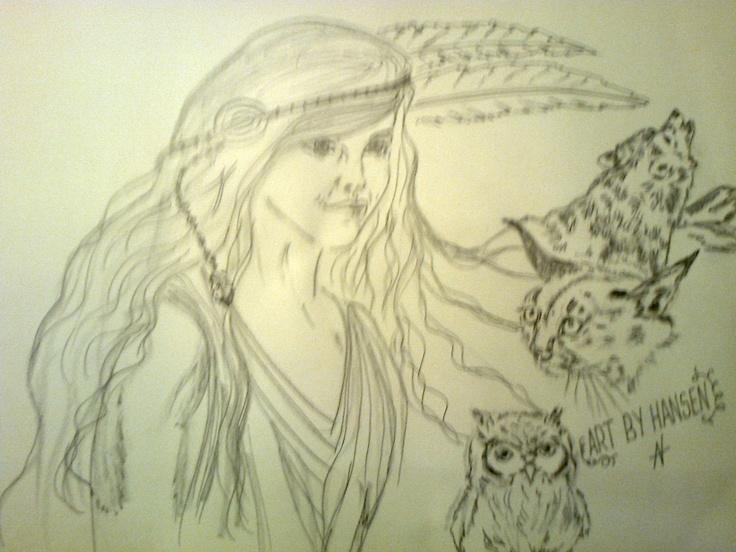 """Drawing.  """"A little bit of a Native girls dreams""""  """"I do art and I love it ♥""""  Art By Hansen, DK.  www.facebook.com/artbyhansen"""