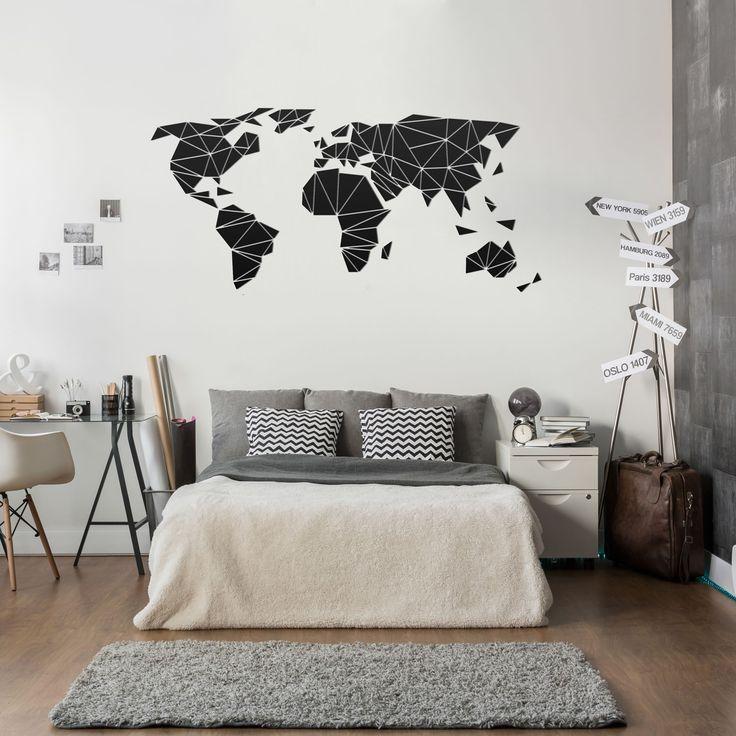 Decorazione murale 3Drealizzata in PVC raffigurante la mappa del mondo. Si applica facilmente con nastro biadesivo incluso.