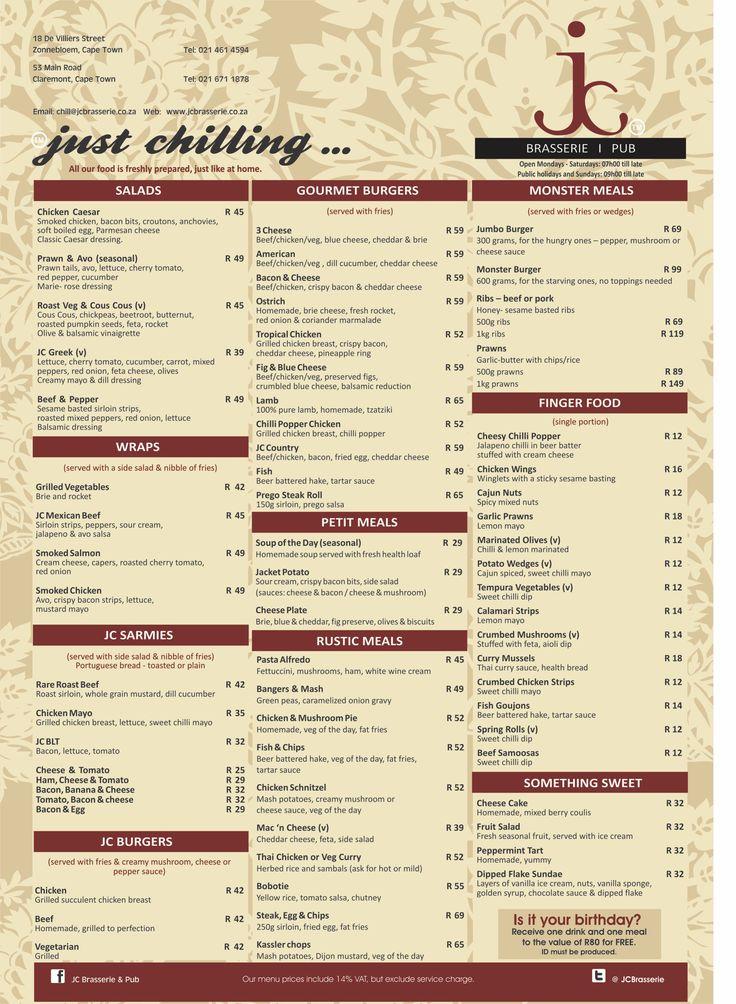 JC Brasserie Menu - Original
