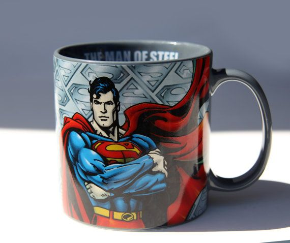 SUPERMAN Man of Steel Coffee Mug Super hero Cartoon Character Comic Book Hero Big Oversized Mug