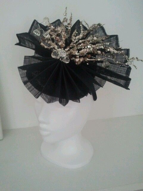 pleated in navy blue with sequin branches and beads