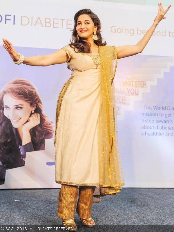 Madhuri Dixit dances at the launch of Sanofi India's diabetes campaign, in Mumbai, on November 8, 2013.