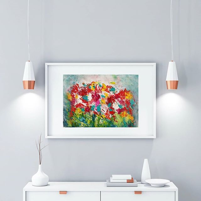 Reaching For the Light is an original acrylic painting on 12x9 in acrylic paper. . This vibrant abstract floral painting would brighten up any room in your home, and the texture and detail are a feast for the eyes. It would also be an ideal gift to bright