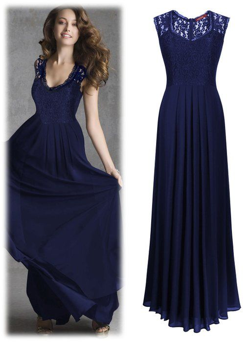 Miusol® Women's Casual Deep- V Neck Sleeveless Vintage Maxi Black Dress (X-Large, Navy Blue)