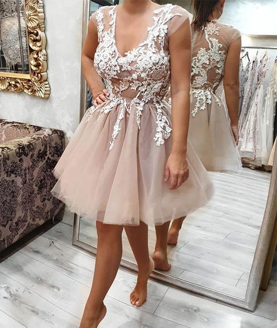 a5936de2341 Gray tulle lace applique long prom dress