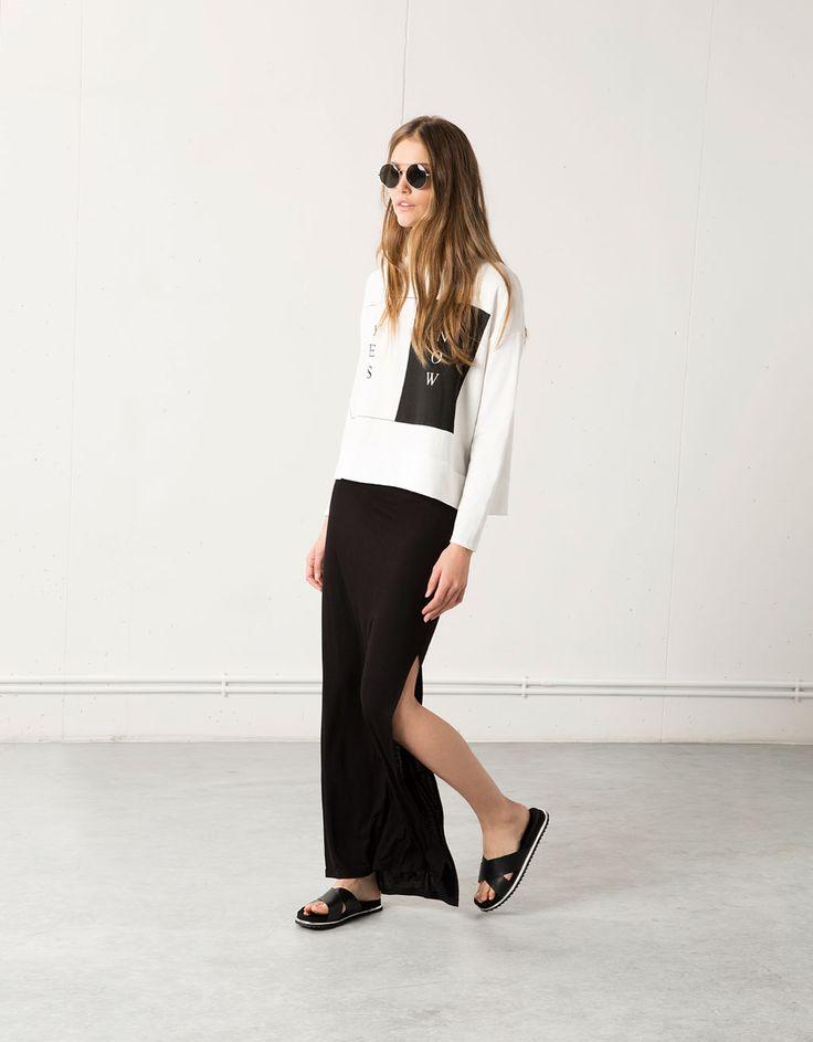 Falda larga Bershka corte lateral - Faldas - Bershka Mexico