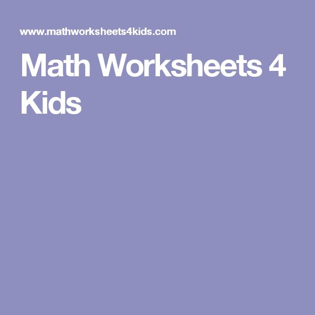 1000+ ideas about Math Worksheets 4 Kids on Pinterest | Free ...