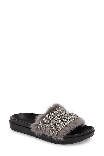 5cb9cbab9fe Kendall   Kylie Women s Sammy Slide Faux Fur Sandals Gray 8 NWT  135