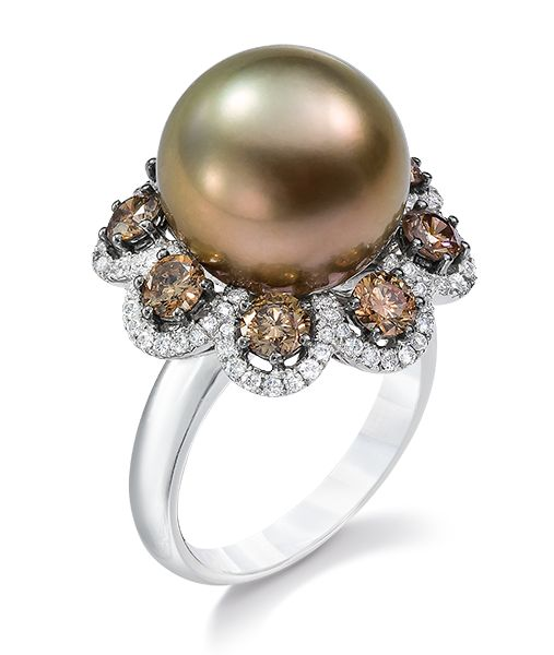 Cellini Jewelers 13.2 mm brown bronze south sea pearl ring with round cognac diamonds(1.33 ct) in micro pave diamond scallops.  Set in 18 karat white gold